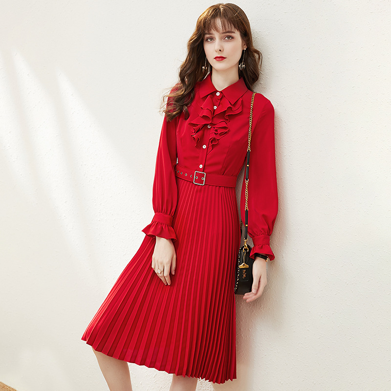 Vintage Red Midi Pleated Dress Women Spring Long Sleeve High Waist Belt Little Black Dresses Ruffles Elegant Ladies vestidos za