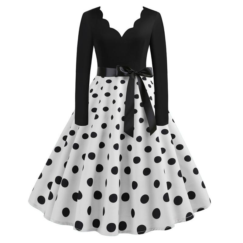 Women Long Sleeve Winter Vintage Dresses Sexy Black Music Note Print V-neck Rockabilly Pin up Party Dress Vestidos Plus size 551