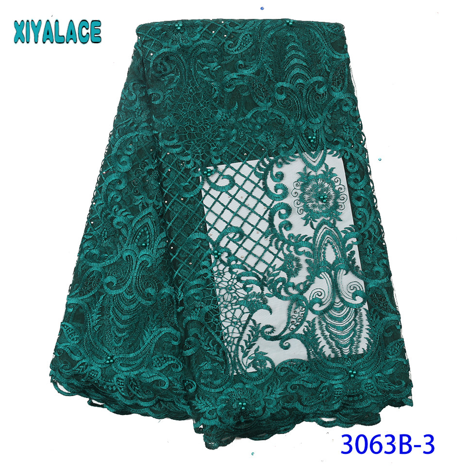Green High Quality French Net Laces Nigerian Tulle Lace African Fabric Lace With Stones Beads For Women KS3063B