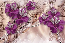 JMINE Div 5D 3D Purple Flowers Beads jewel Full Diamond Painting cross stitch kits art Floral 3D paint by diamonds(China)