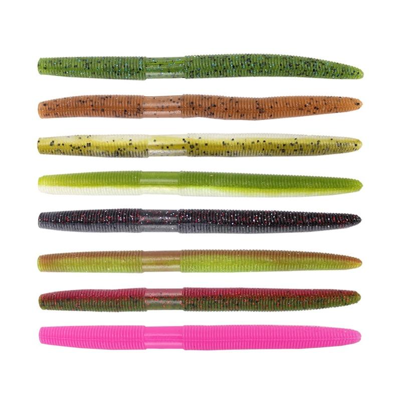 13.5cm 10g Maggots Soft Fishing Lure Wacky Worm Bait PVC Artificial Bait Fishing Lure Wobbler For Bass Carp Pike,1pc/lot 8 Color