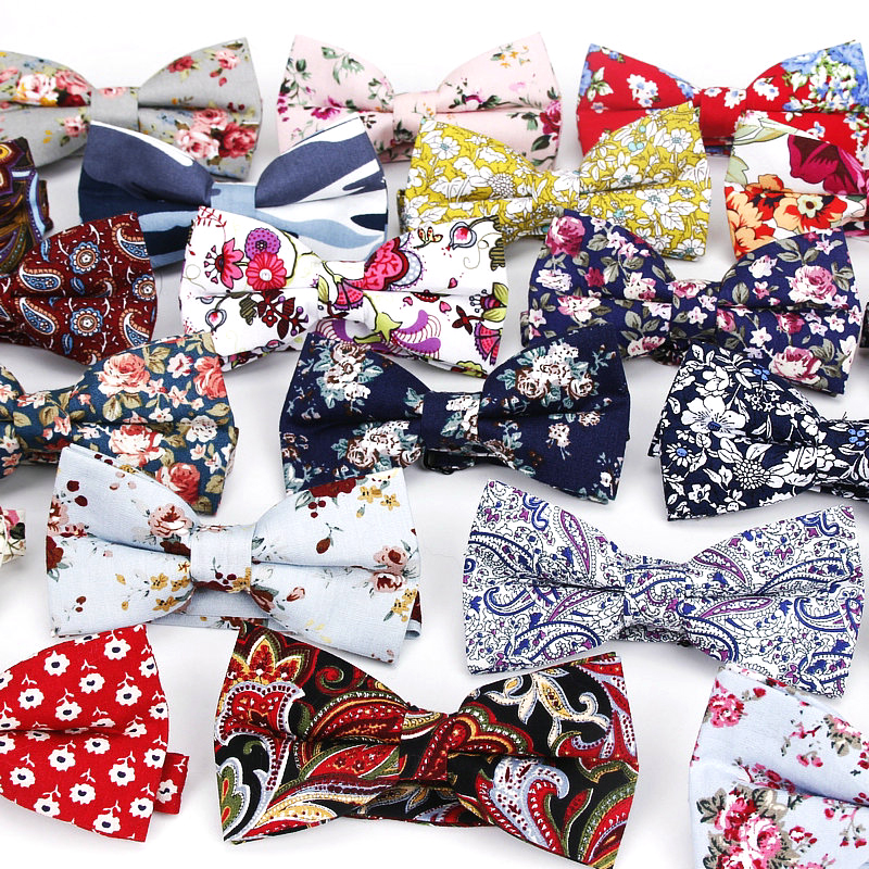 New Style Bowtie Men Tuxedo Cotton Designer Colorful Butterfly Flower Rose Paisley Bowties Wedding Party Casual Cravat Bow Tie