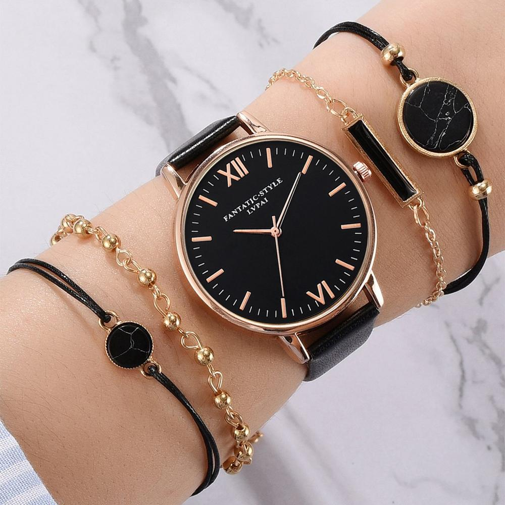 Luxury 5pc/set Top Brand Women's Watches Bracelet Set Ladies Women Watch Casual Leather Quartz Wristwatch Clock Relogio Feminino