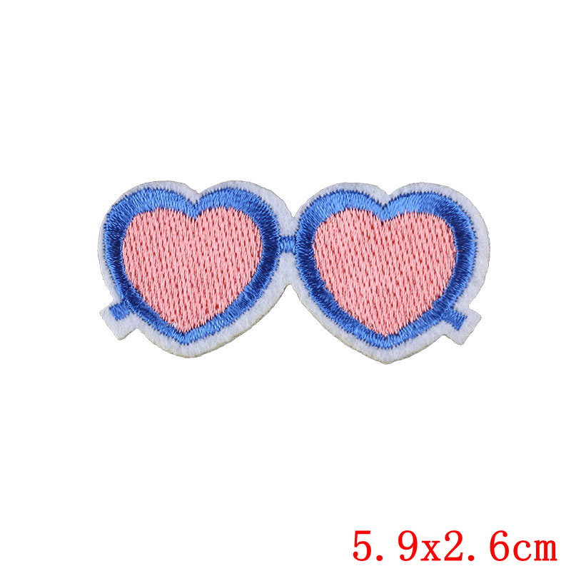Love Heart Patch Sticker Iron on Clothes DIY Heat Transfer Glasses Applique Embroidered Application Cloth Fabric Sequin Patches in Patches from Home Garden