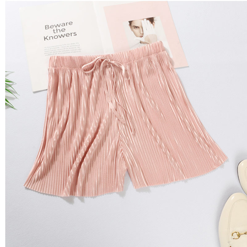 Pleated Shorts Women's Summer New Drape Lace Wide-leg Pants Casual Pants Loose Thin Shorts Red