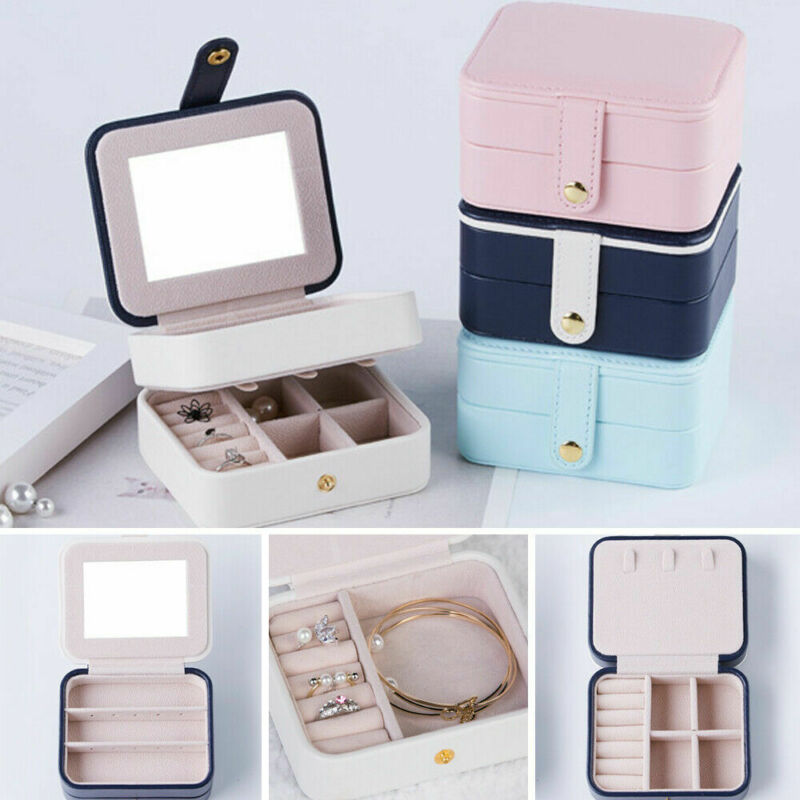 2020 HOT Portable Womens Jewelry Box Storage Organizer Girls Travel 2-Layer Rectangle Earrings Ring Necklace Carrying Case Gift