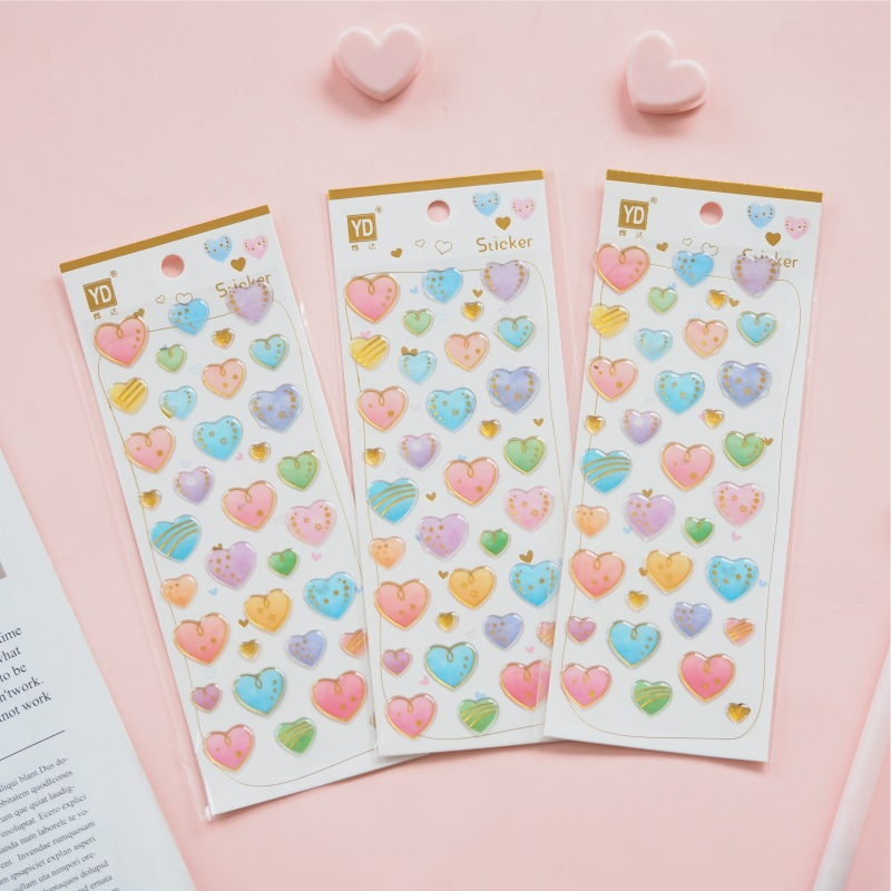 Gilding Love Crystal Glue 3D Decorative Stickers Scrapbooking Stick Label Diary Stationery Album Stickers