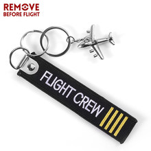 Flight Crew Key Chain Kit Anahtarlik Label Embroidery Keychain with Metal Plane Key Chain for Aviation Gifts Car Keychains(China)