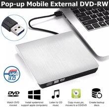 Внешний DVD-накопитель USB 3,0, портативный CD DVD RW привод, запись, оптический плеер, совместимый с Windows 10, ноутбук, рабочий стол, iMacs