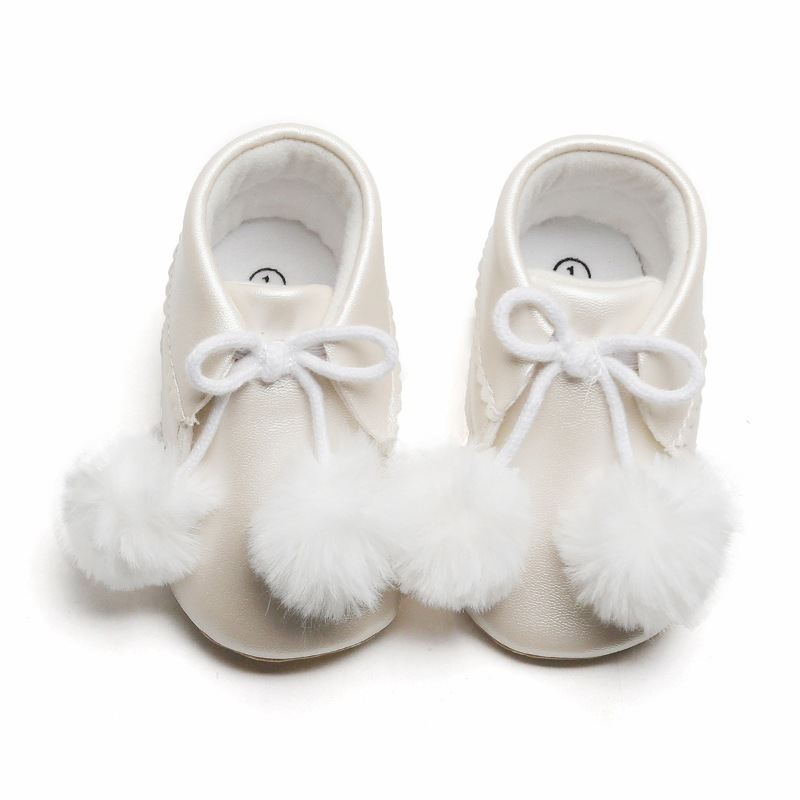PU Leather Baby Girl Shoes Toddler Baby Girl Boots Casual Snow Boots Plush Ball Warm Booties Newborn Infant Crib Shoes