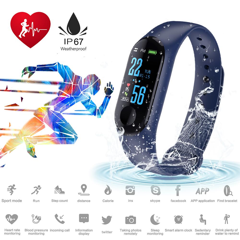 Sports Wristband Smart Bracelet Step Fitness Tracker Watch Heart Rate Blood Pressure Watch Exercise For Android IOS Supplies