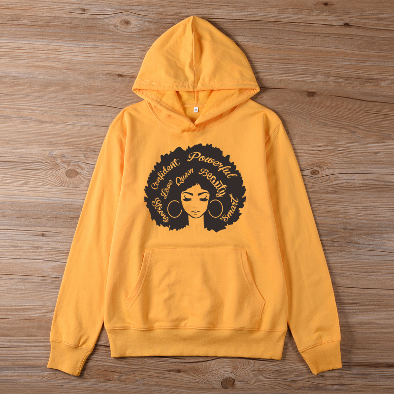 ONSEME Beautiful Afro Lady Graphic Hoodies Black Queen Girl Power Hooded Sweatshirt Women Streetwear Hoodie Melanin Pullovers