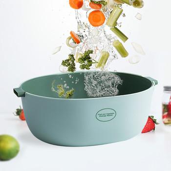 2 in 1 Fruit Vegetable Drain Basket Double Layer Drain Basket Bowl Plastic Kitchen Storage Basket Strainers Set with Handle tanie i dobre opinie CH (pochodzenie) Ekologiczne Colanders i imbryk STAINLESS STEEL Eco-Friendly