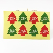 80pcs/pack Red And Green Christmas Tree Shape Package Label Bakery Sealing Stickers