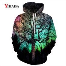 New Mens Womens 3D Hoodies Sweatshirt  Galaxy Tree Graphic Print Casual Pullover Long Sleeve Tracksuit Couples Tops 3d graphic print emboss long sleeve sweatshirt