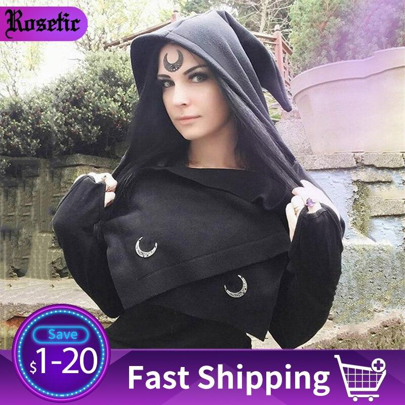 Rosetic Women Gothic Scarves Adult Headscarf Shawl Hood Gothic Dark Women Female Punk Goth Female Black Headscarf 2019 Gothic