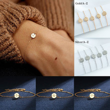 For Women Silver Adjustable Name Bracelets Jewelry Female Gift Mujer Bracelet Female Wide Trendy Gold Color Letter Bracelet(China)