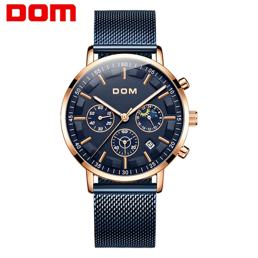 DOM Casual Sport Watches for Men Blue Top Brand Luxury Stainless steel Wrist Watch Man Clock Fashion Chronograph Wristwatch