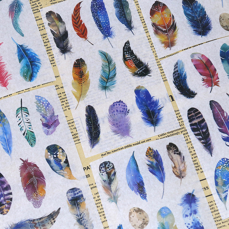 Dreamy Feather Japanese Paper PDA Adhesive Paper Watercolor Hand-Painted Material Dreamy Color Feather Diary Album of Painting D
