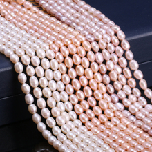 Natural Freshwater Cultured Pearls Beads Rice Shape 100% for Jewelry Making DIY Strand 13 Inches