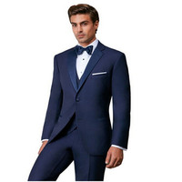 New Classic Men's Suit Smolking Noivo Terno Slim Fit Easculino Evening Suits For Men blue latest designs Groom Tuxedos Wedding