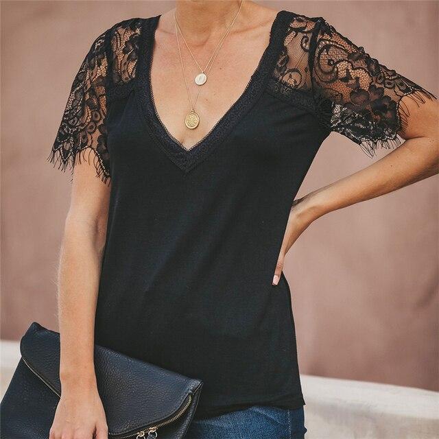 Camiseta de encaje, Tops para mujer, Camiseta con cuello en V, camiseta Sexy de verano, Camiseta ajustada de manga corta, nueva camiseta 2020, ropa de mujer, camisas 3