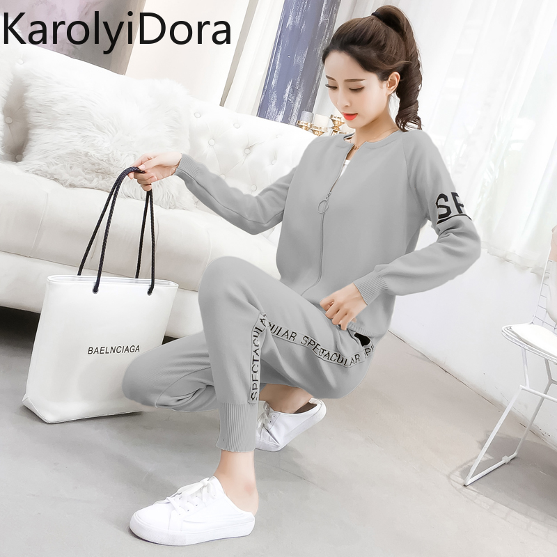 Women's suit 2020 Spring and autumn new fashion knit sweater sports suit women's cardigan thin casual pants 2 piece set women 5