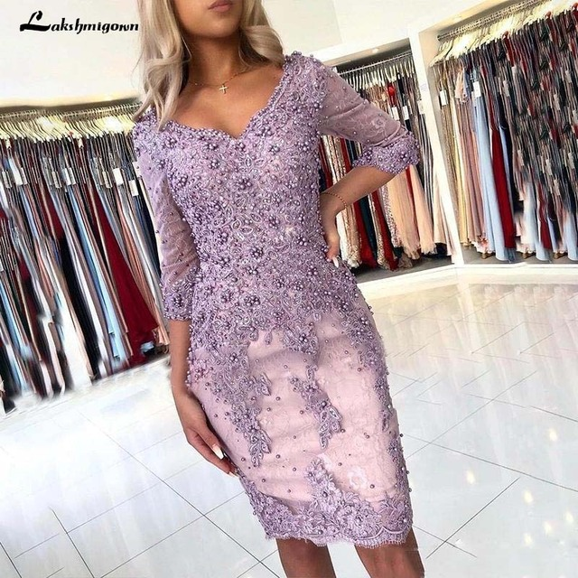 Elegant Beaded Sheath Lace Mother Of The Bride Dresses V Neck Long Sleeves Appliqued Evening Gowns Plus Size Wedding Guest Dress