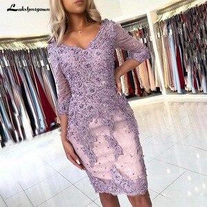 Image 1 - אלגנטי חרוזים נדן תחרת אמא של הכלה שמלות V צוואר ארוך שרוולים Appliqued ערב שמלות בתוספת גודל חתונת אורחים שמלה