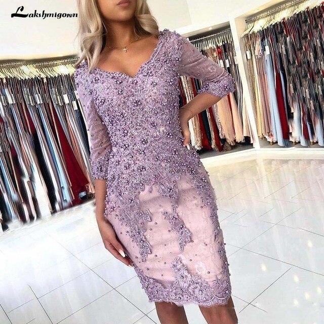 אלגנטי חרוזים נדן תחרת אמא של הכלה שמלות V צוואר ארוך שרוולים Appliqued ערב שמלות בתוספת גודל חתונת אורחים שמלה