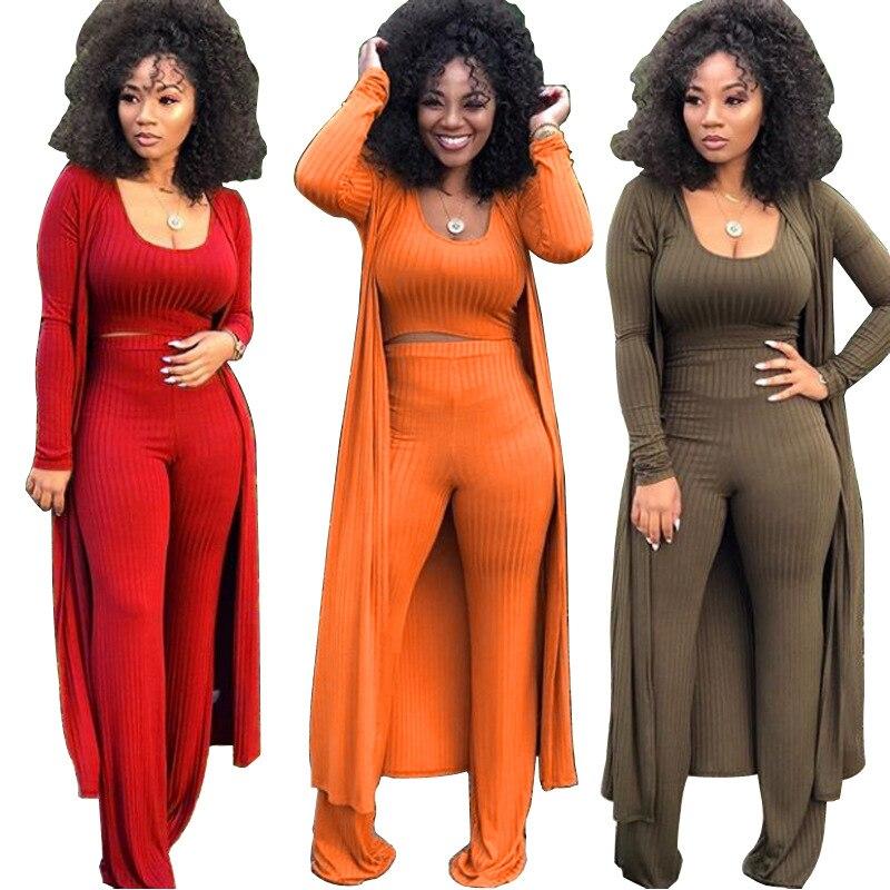 Traje de tres piezas para mujer, cuello redondo, manga larga, tejido sólido de talla grande, otoño, rojo, marrón, verde militar, naranja, novedad de 2021