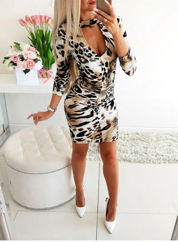Leopard Bodycon Dress 2019 New Fashion Women Bandage Chiffon Mini Dress Long Sleeve Evening Sexy Party Hot Mini Dress