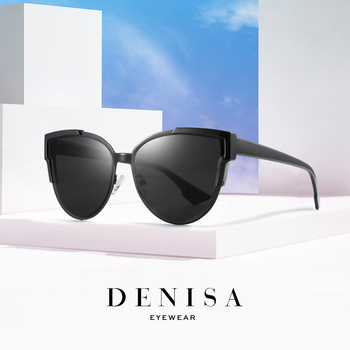 DENISA Vintage Cateye Sunglasses Women Luxury Brand Blue Mirror Sun Glasses Retro Black Shades For Women UV Protection G9018 2