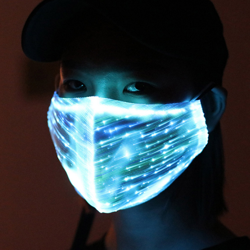 LED Flashing Mask Chargeable Colorful Dust Mask Fiber Optic Fabric Mask MUG88
