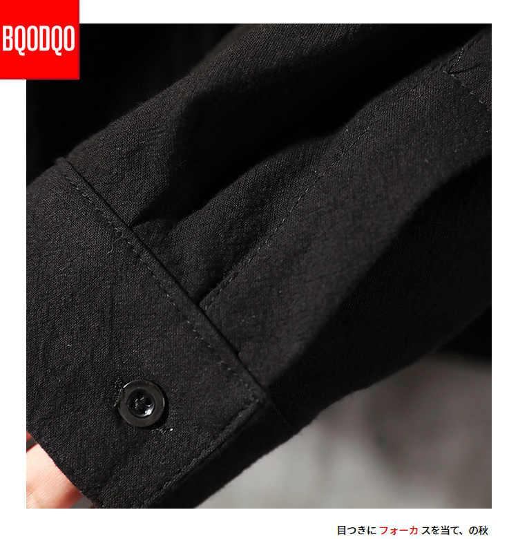 BQODQO, армейский зеленый цвет, модная уличная блуза, Мужская белая рубашка с двойным карманом, негабаритная Повседневная рубашка, Мужская Осенняя хлопковая рубашка с длинным рукавом