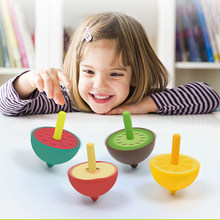 CAMPSLE Kids Wooden Wooden Spin Fruits Spin Toys Colorful Mini Spinning Tops Fun Classic Toys for Children Parent-child Game(China)