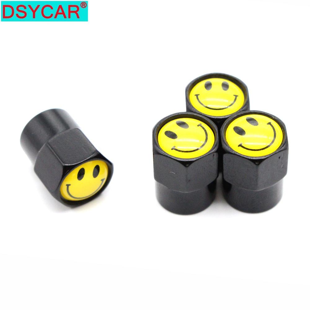 DSYCAR 4 Pcs/Set Car Aluminium Alloy/Copper Smiling Face Car Tire Valve Caps Wheel Tires Tire Stem Air Cap Airtight Covers