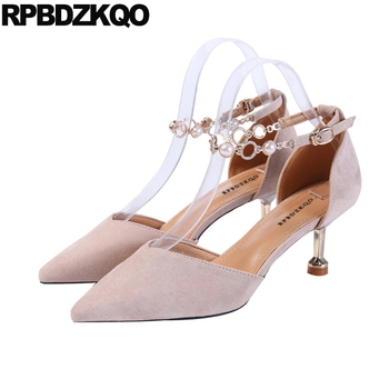 pearl shoes european 2019 scarpin patent leather suede beige luxury thin metal heels pumps pointed toe ankle strap women high