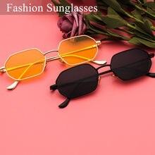 Óculos de sol retrô polygon unissex, óculos pequeno espelhado, vermelho, preto, quadrado, vintage, uv400