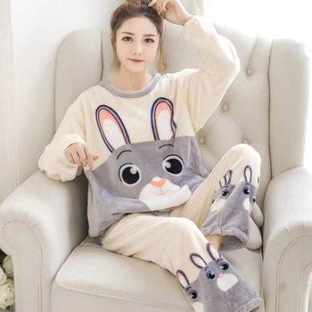 2020 Autumn Winter Warm Flannel Women Pyjamas Sets Thick Coral Velvet Long Sleeve Cartoon Sleepwear Thin Flannel Pajamas Set 1