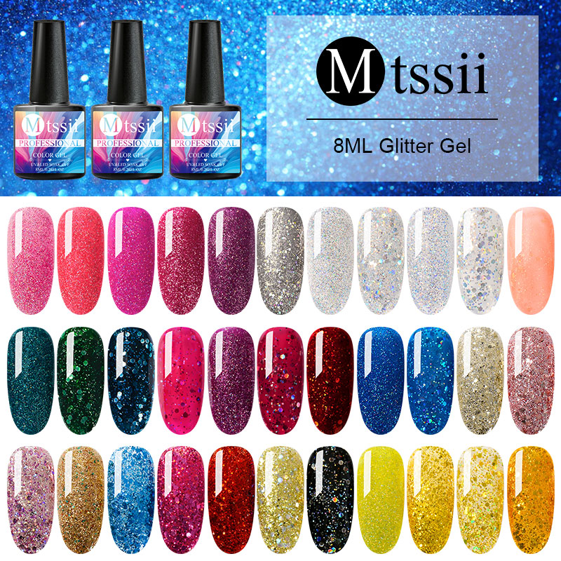 Mtssii 8ml For Sale UV Gel Holographic Glitter Sequins Semi Permanent Soak Off Nail Art Gel Polish Varnish Manicure Design