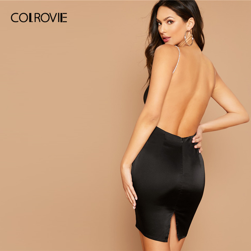 COLROVIE Black Open Back Split Hem Satin Dress With Rhinestone Strap Women Sexy Backless Dress 2020 Glamorous Bodycon Dresses