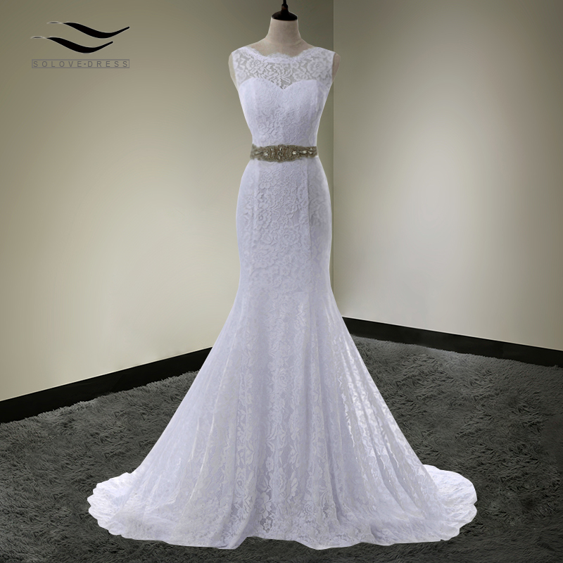 Solovedress Scoop Neck Cap Sleeves Mermaid Wedding Dress Lace With Sash Bridal Gown Chaple Train