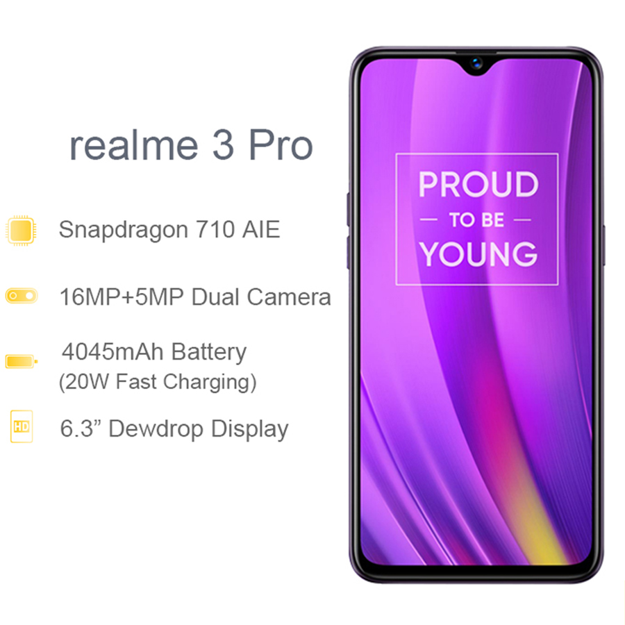 Global Version REALME 3 Pro 6.3'' 6/128GB Smart Moblie Phone 4045mAh 16+5MP Dual Camera VOOC Fast Charge 3.0 Mobile Phone