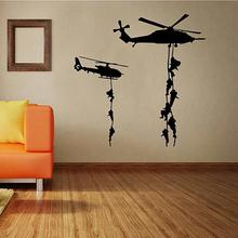 Helicopter Army Soldier Wall Stickers Vinyl Art Decals Teens Boys Men Military Fans Bedroom Home Decoration LW364