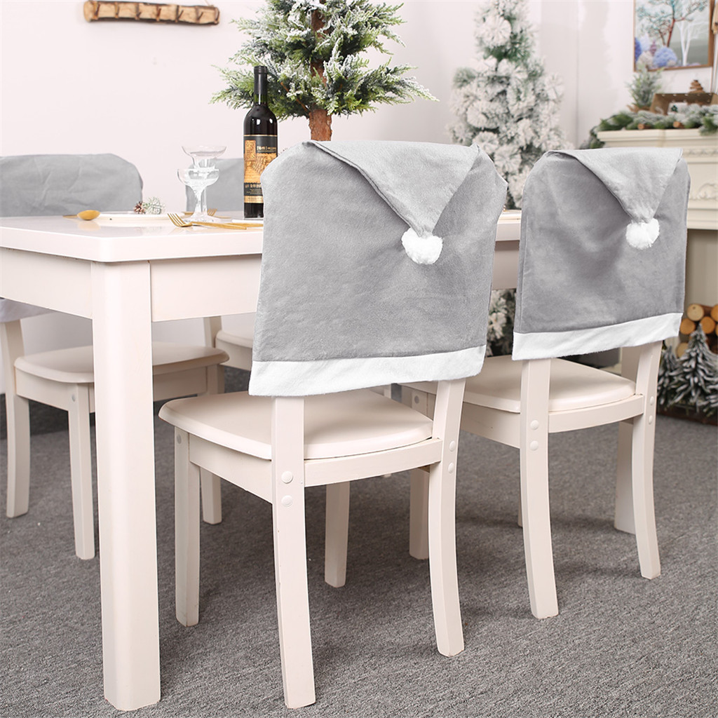 Santa Clause Red Hat Slipcovers Kitchen Chair Cap Sets Xmas Decoration For Dinning Room Christmas Banquet Holiday Festival Decor Christmas Chair Back Cover Set Of 6 Dining Chair Slipcovers