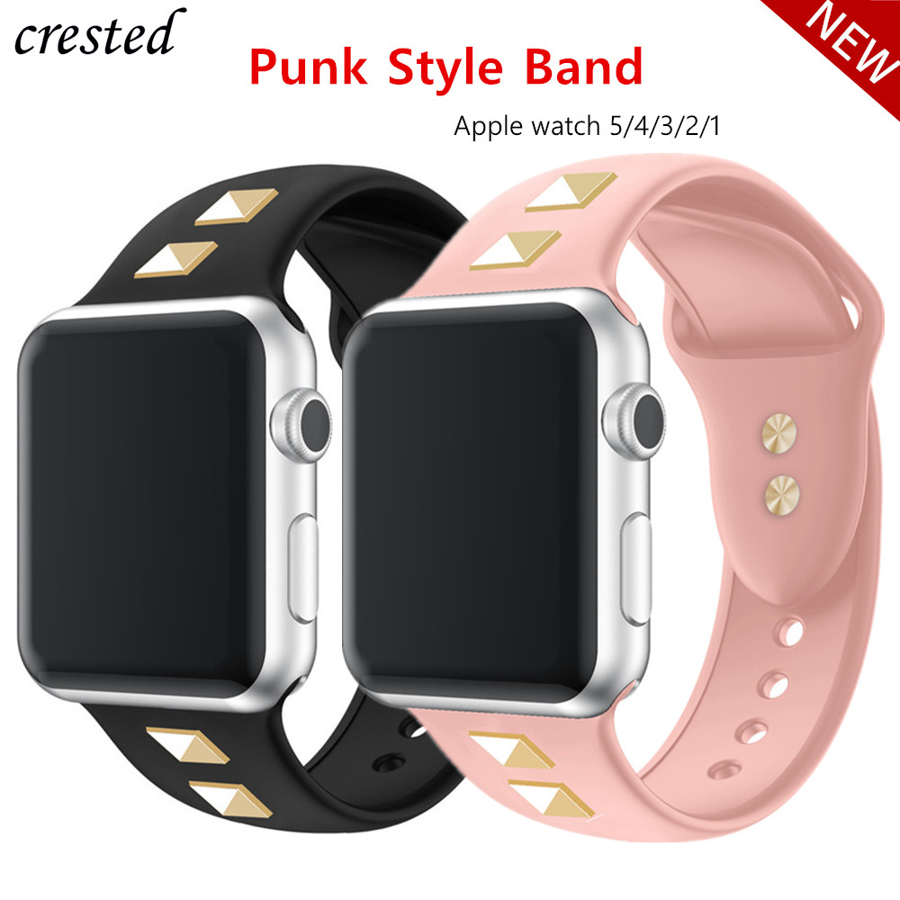 Punk Strap For Apple Watch 5/4 Band 44mm 40mm Iwatch Band 42mm 38mm Punk Rivet Silicone Watchband Bracelet Apple Watch 3 21 44