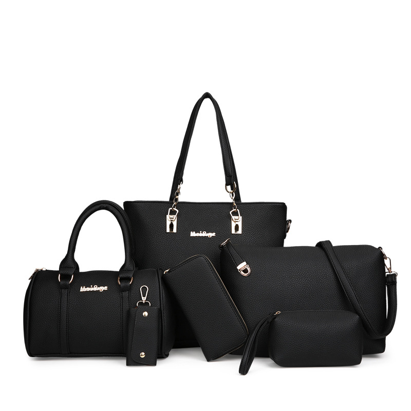 New Leather 6pcs/ Set Composite Bags Simple Fashion Women Luxury Handbags Solid Casual Totes Lady Shoulder Bag Bolsa Feminina