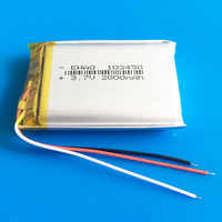 103450 3 wires 2000mAh 3.7V lipo polymer lithium rechargeable battery for MP3 GPS navigator DVD recorder headset e-book camera
