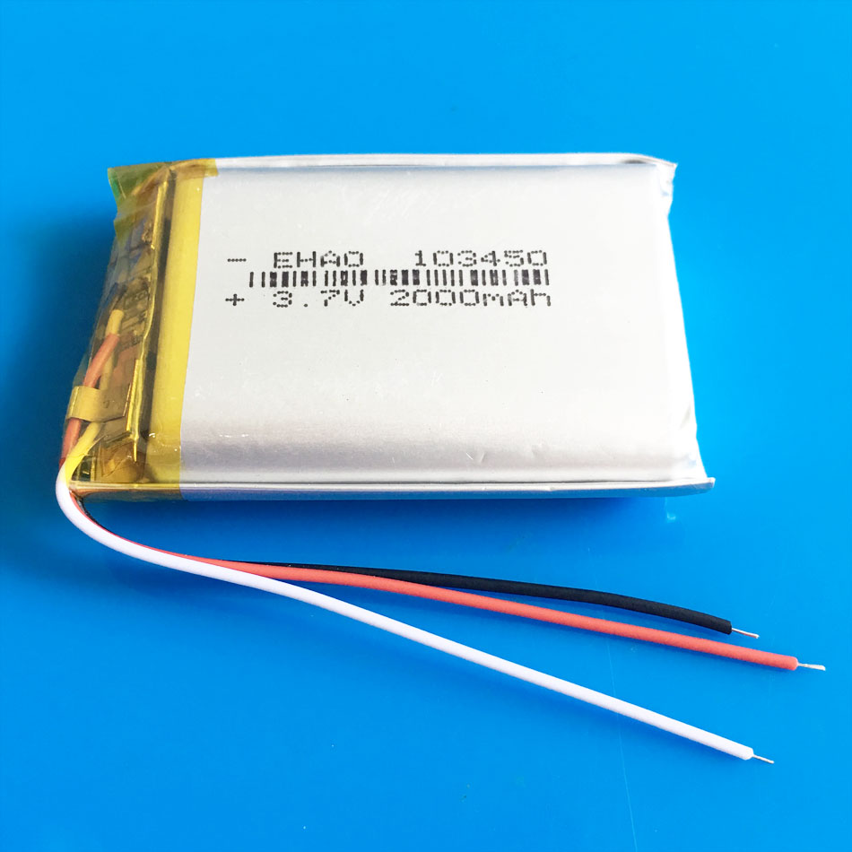 103450 3 wires <font><b>2000mAh</b></font> <font><b>3.7V</b></font> <font><b>lipo</b></font> polymer lithium rechargeable <font><b>battery</b></font> for MP3 GPS navigator DVD recorder headset e-book camera image